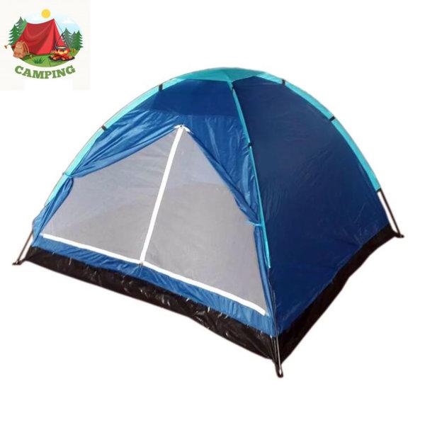 Триместна палатка за къмпинг синя 75219