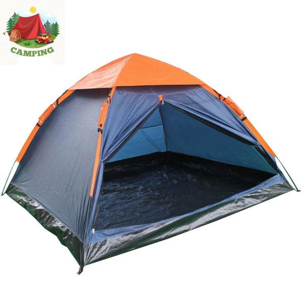 Четириместна палатка за къмпинг оранж/синьо 75619
