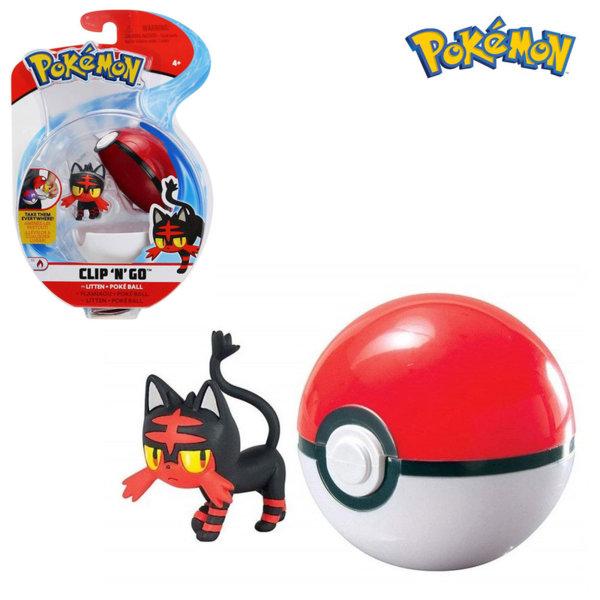 Pokemon Clip 'n' Go Фигурка Litten в топче Pokeball 95061