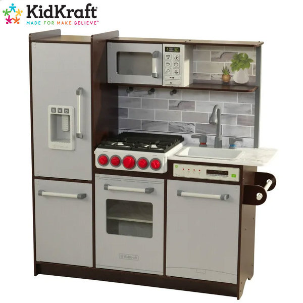 KidKraft Детска дървена кухня Uptown Elie Espresso със звукови ефекти 53426