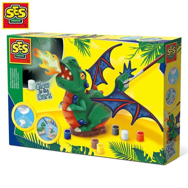 SES Creative Гипсови отливки Светещ в тъмното дракон 14204