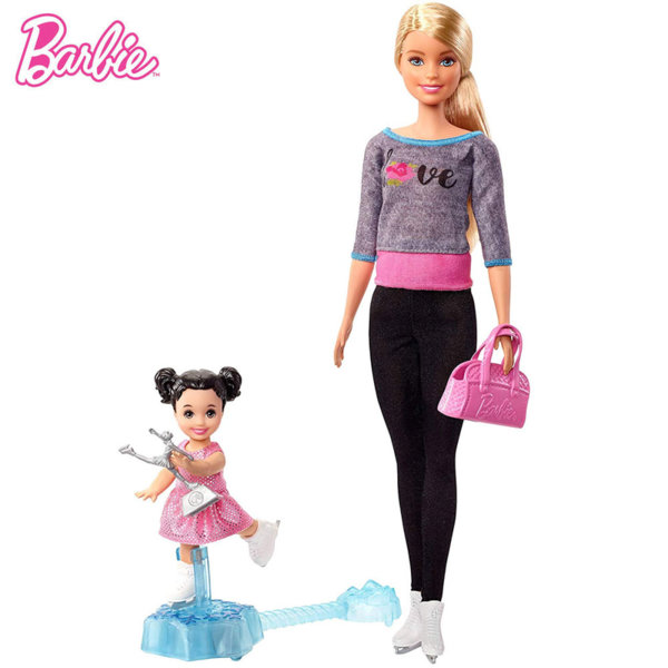 Barbie Комплект кукли Барби треньорка по фигурно пързаляне FXP37