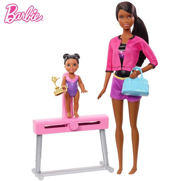 Barbie Комплект кукли Барби треньорка по гимнастика FXP37