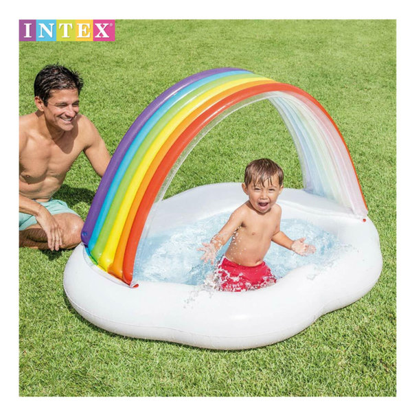 Intex Бебешки надуваем басейн със сенник Облаче с дъга 57141