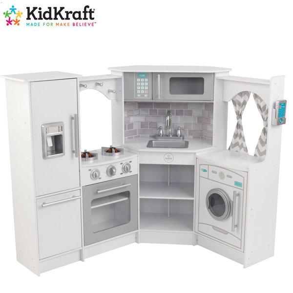 KidKraft Детска дървена кухня със звук и светлина Ultimate Corner white 53386