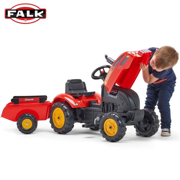 Falk Детски трактор с ремарке и отварящ се капак X-Tractor 2046AB