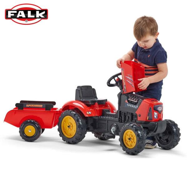 Falk Детски трактор с педали, ремарке и отварящ се капак SuperCharger 2030AB
