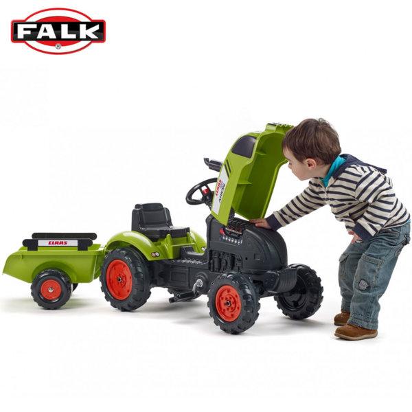 Falk Детски трактор с педали, ремарке и отварящ се капак CLAAS 2041C