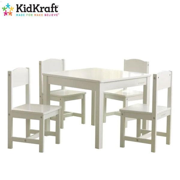 KidKraft Детска дървена маса с 4 стола Farmhouse White 21455