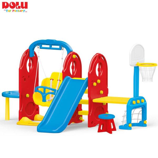 Dolu - Детски център с люлка, пързалка, баскетболен кош, футболна врата и маса 7в1 3024