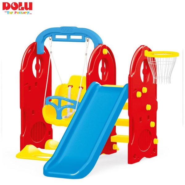 Dolu - Детски център с люлка пързалка и баскетболен кош 4в1 3023