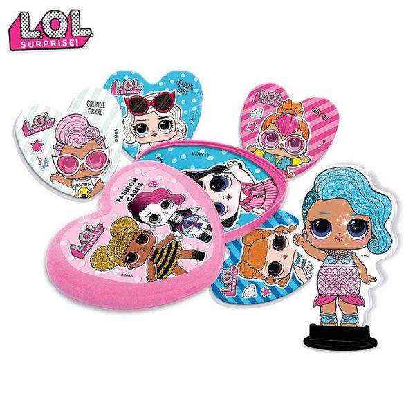 Lisciani LOL Surprise Картонена кукличка и модни карти в кутийка сърце 69484