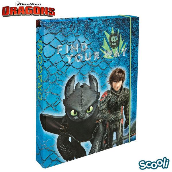 Scooli Dragons Папка кутия с ластик Дракони 28251