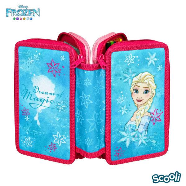 Scooli Disney Frozen Ученически несесер 3 ципа, зареден Замръзналото кралство 28109
