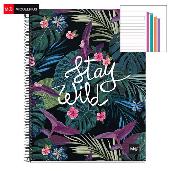 Miquelrius Stay Wild Тетрадка спирала A4, 140 листа, широки редове 56514