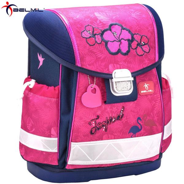Belmil Ергономична ученическа раница CLASSY Tropical Pink 403-13-30