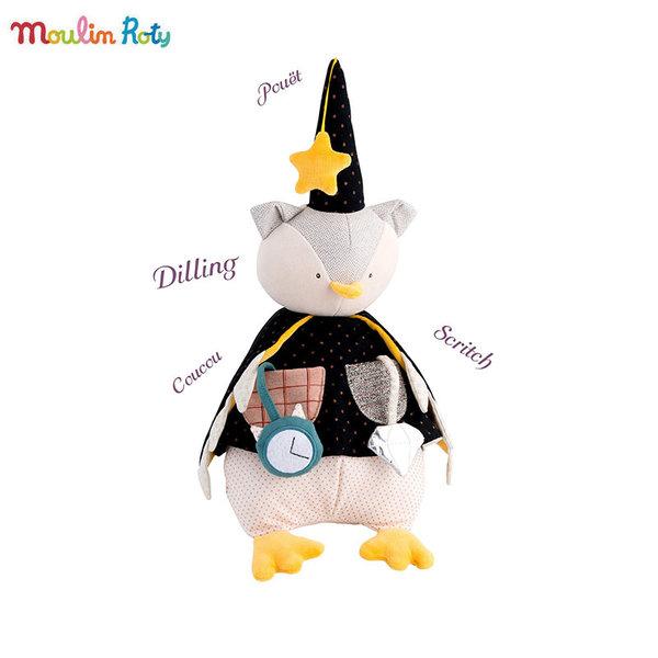 Moulin Roty Мека играчка с активности Бухал магьосник 664061