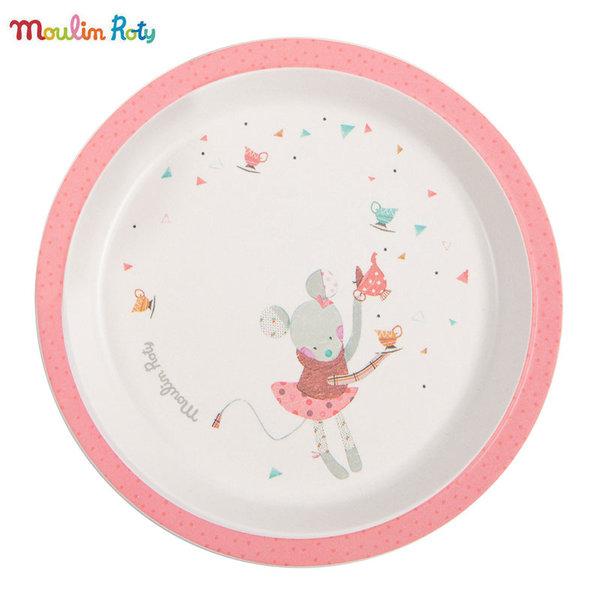 Moulin Roty Детска чиния за хранене розово мишле Jolis Trop Beaux 665241