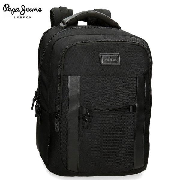 Pepe Jeans Allblack Ученическа чанта раница с две отделения 78165