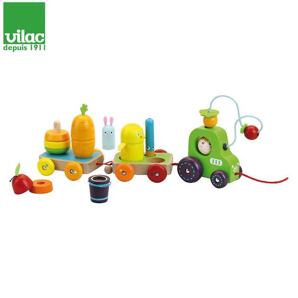 Vilac Дървен трактор за дърпане с фигурки за нанизване  Multi-activity 2411