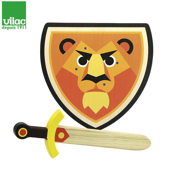 Vilac Комплект дървен меч и щит Lion 2962
