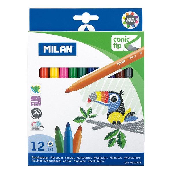 Milan Флумастери 12 цвята Conic tip 0612312