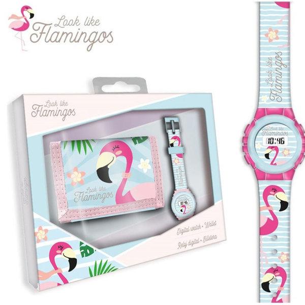 Flamingos Ръчен електронен часовник Фламинго в комплект с портмоне KL10106