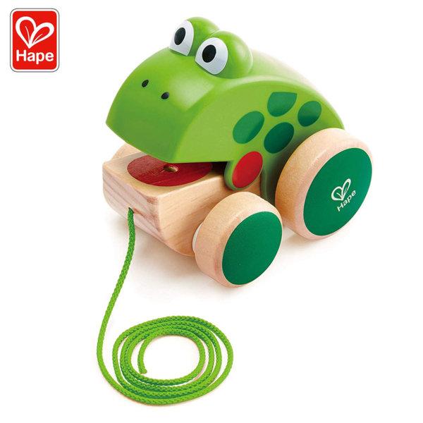 Hape Дървена играчка за дърпане Жабка H0361