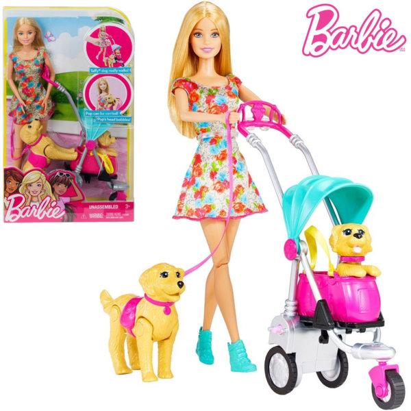 Barbie Кукла Барби на разходка с две кучета CNB21