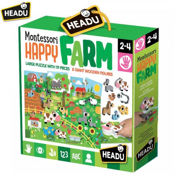 Headu Пъзел Веселата ферма 19 части Монтесори 20102