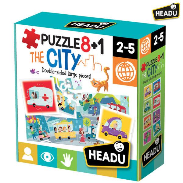 Headu Детски пъзел 8+1 Градът двулицев 20508