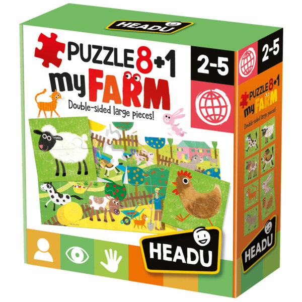 Headu Детски пъзел 8+1 Моятя ферма двулицев 20867