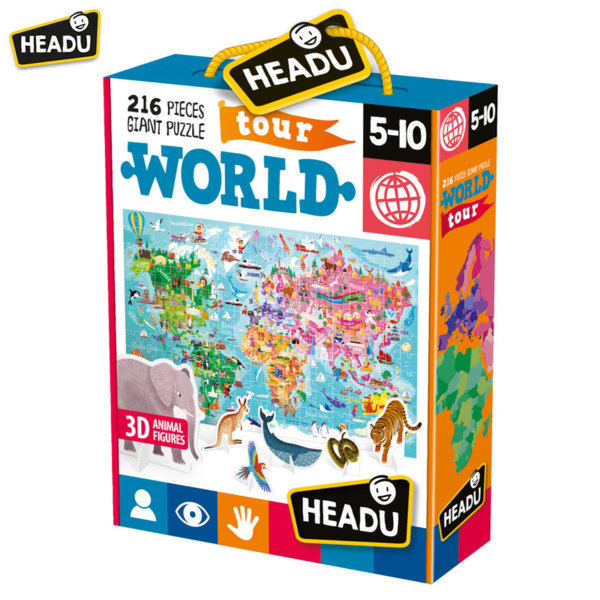 Headu Детски пъзел Обиколка на света с 3D фигури на животни 216 части 20898