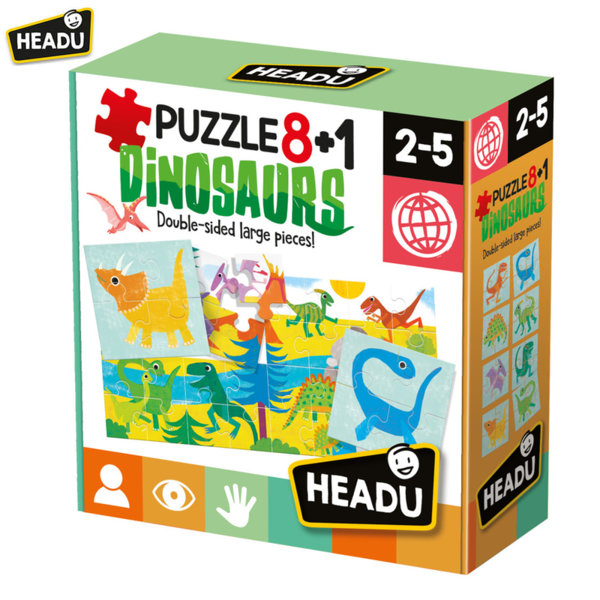 Headu Комплект детски двулицеви пъзели Динозаври 8+1 22243