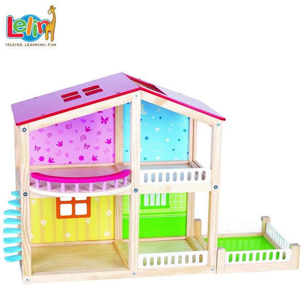 Lelin Toys Детска дървена двуетажна къща за кукли Фантазия 50107