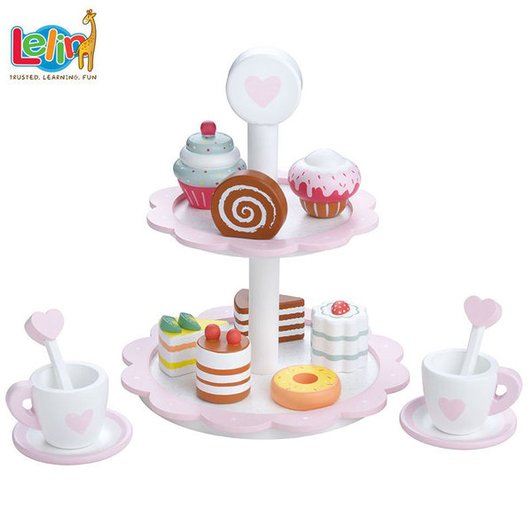 Lelin Toys Комплект дървен поднос за сладки и кафе за двама 40197
