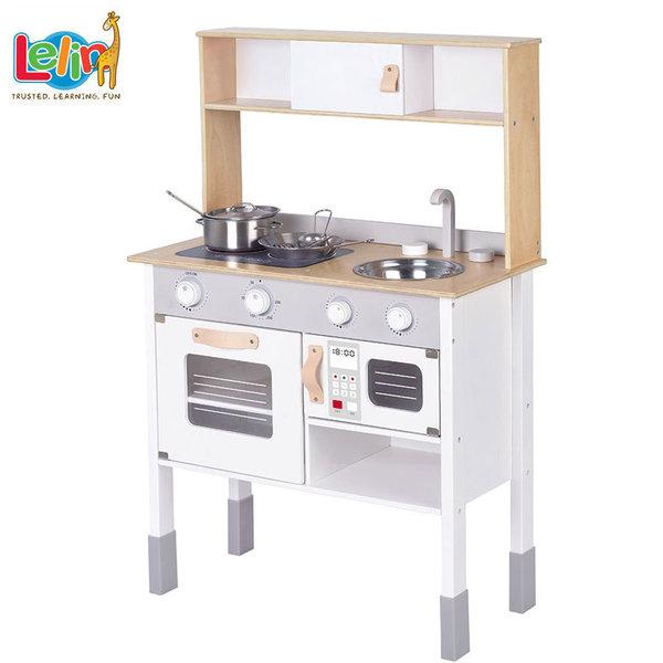 Lelin Toys Детска дървена кухня Малкия готвач 40191