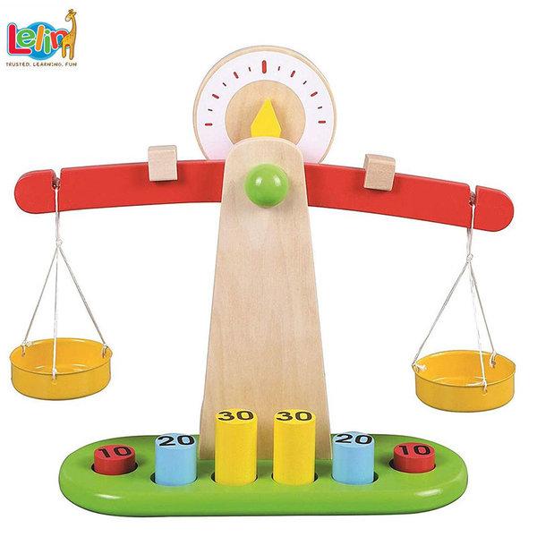 Lelin Toys Детска дървена везна с теглилки 40099