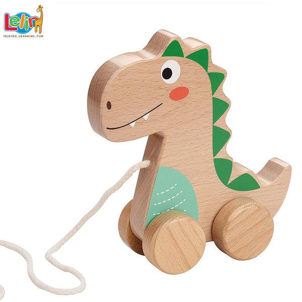 Lelin Toys Дървена играчка за дърпане Динозавър 10266