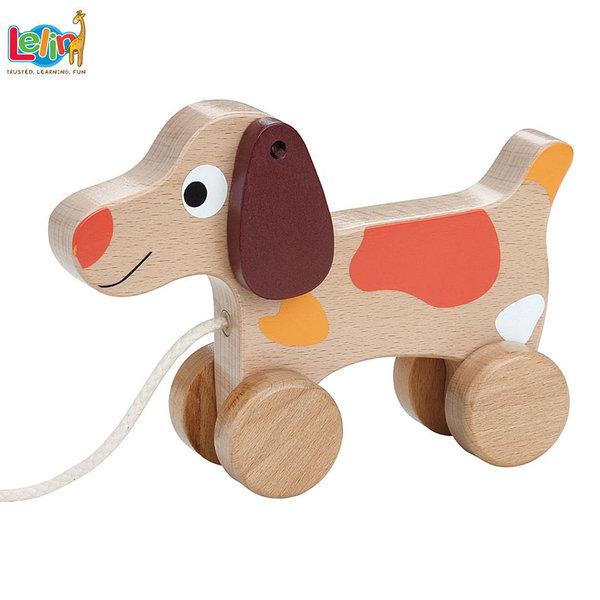 Lelin Toys Дървена играчка за дърпане Куче 10265