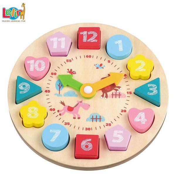Lelin Toys Дървен образователен часовник 10262
