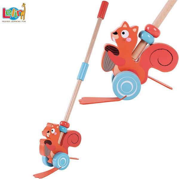 Lelin Toys Дървена играчка за бутане Катеричка 10240