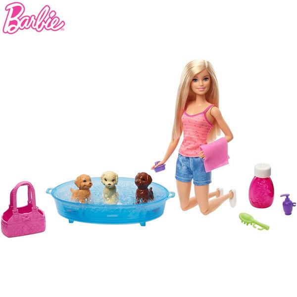 Barbie Кукла Барби с 3 кученца GDJ37