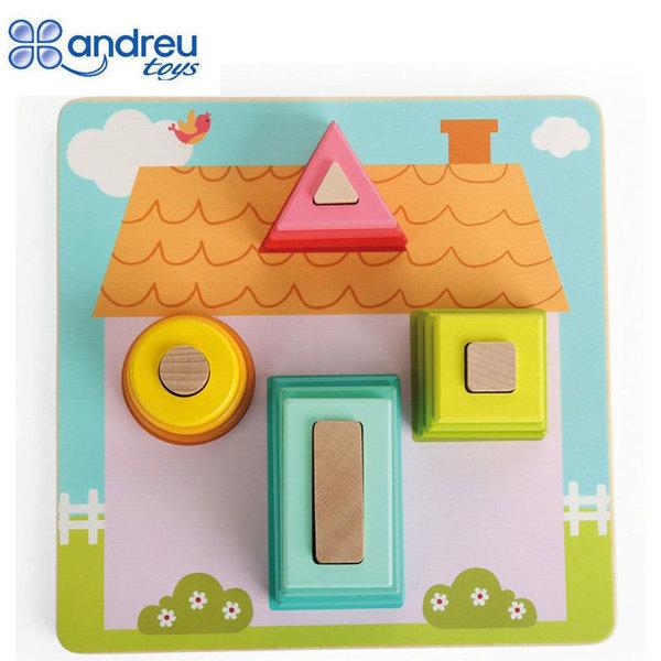 Andreu Toys Дървена низанка с форми Къща 16430