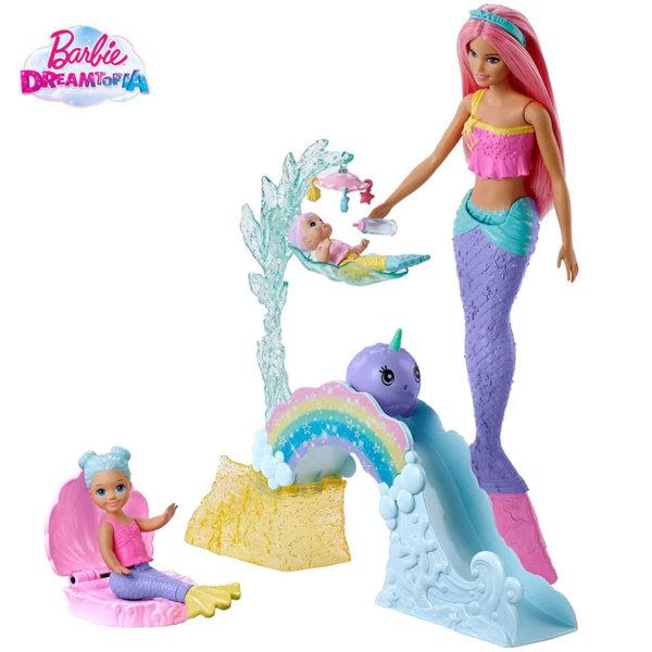 Barbie Dreamtopia Кукла Барби руслка с две бебета FXT25