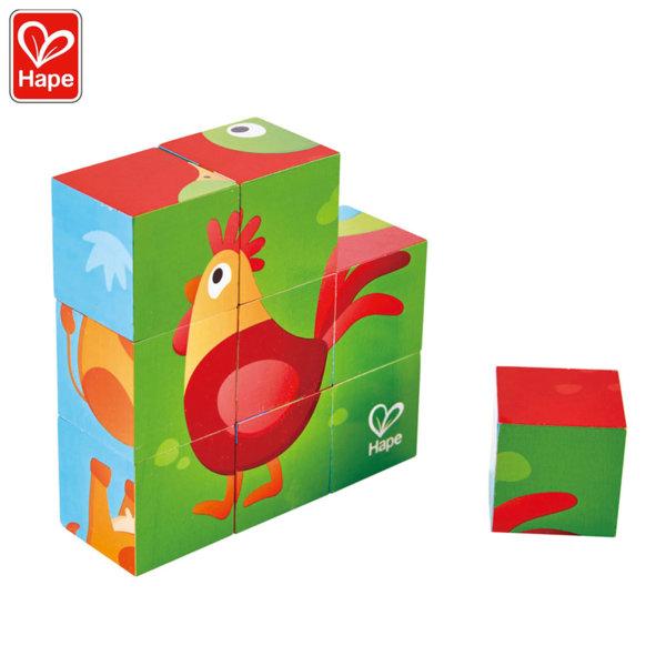 Hape Детски дървени кубчета Ферма H1618