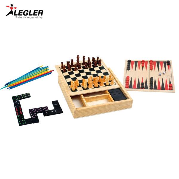 Legler Дървени класически игри с шах и табла 4в1 3491