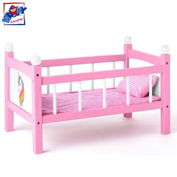 Woody Дървено легло за кукли Еднорог 91310