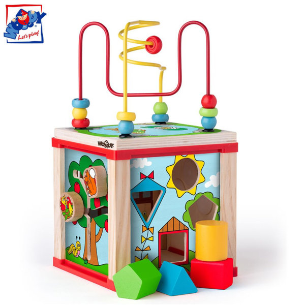 Woody Дървен дидактически куб 91916