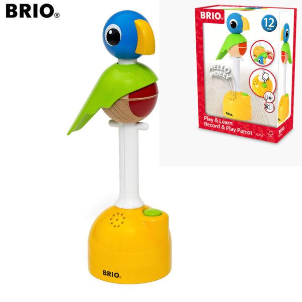 Brio Дървен папагал за подреждане и за записване Play & Record 30262